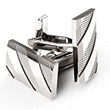 UHIBROS Mens Cuff Links Polished Finish Stainless Steel Luxury French Tuxedo Shirt Cufflinks for Men Father's Day Gifts