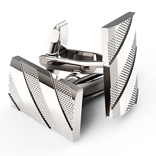 UHIBROS+Mens+Cuff+Links+Polished+Finish+Stainless+Steel+Luxury+French+Tuxedo+Shirt+Cufflinks+for+Men
