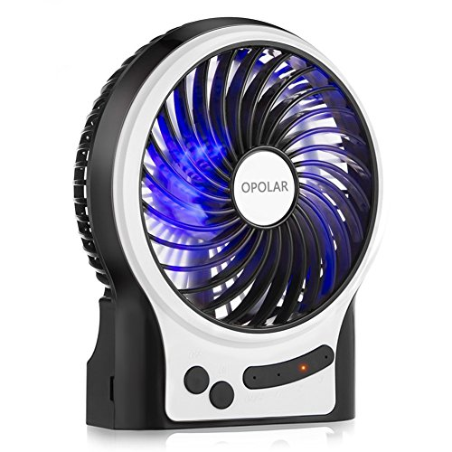 OPOLAR Battery Operated Desk Fan with Large Capacity of 3350mAh, Max. 11 Hrs Per Charge, Strong Wind, 3 Speeds, Portable, Rechargeable, Quiet, USB Powered, Perfect for Outdoor or Office and Home