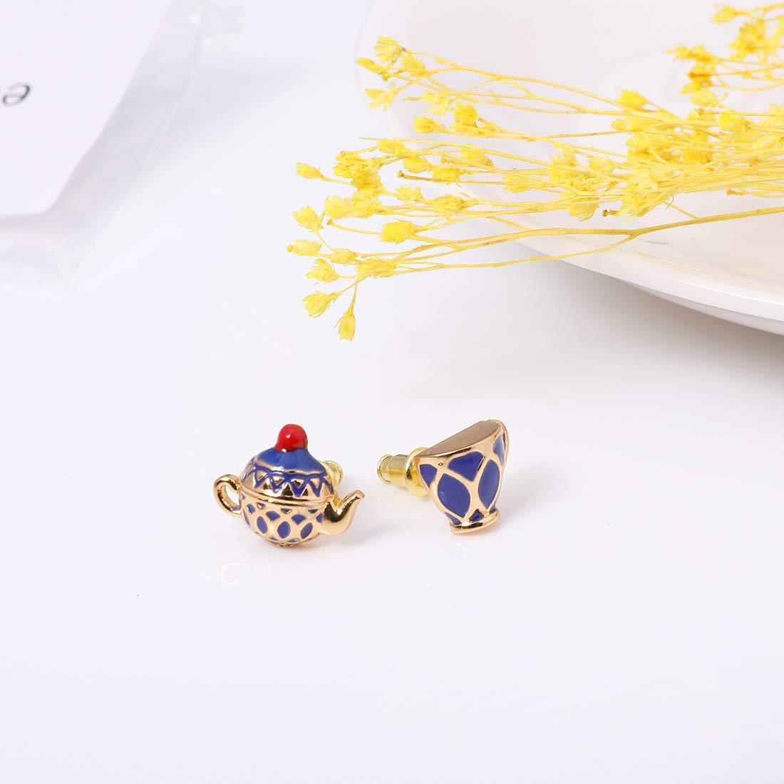 Hand Painted Enamel Tea Pot Blue Earring Stud for Women Mini Asymmetrical Jewelry