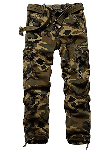 MUST WAY Men's Cotton Multi Pockets Cargo Athletic Fit Pant with Stretch M Camo Straight Section 31