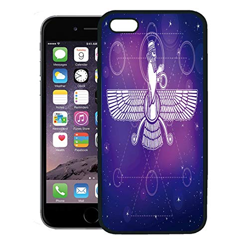 Semtomn Phone Case for iPhone Xs case,Ancient Assyrian Winged Deity Character of Sumerian Mythology Esoteric Symbol Sacred Geometry The Night,Rubber Border Protective Case,Black