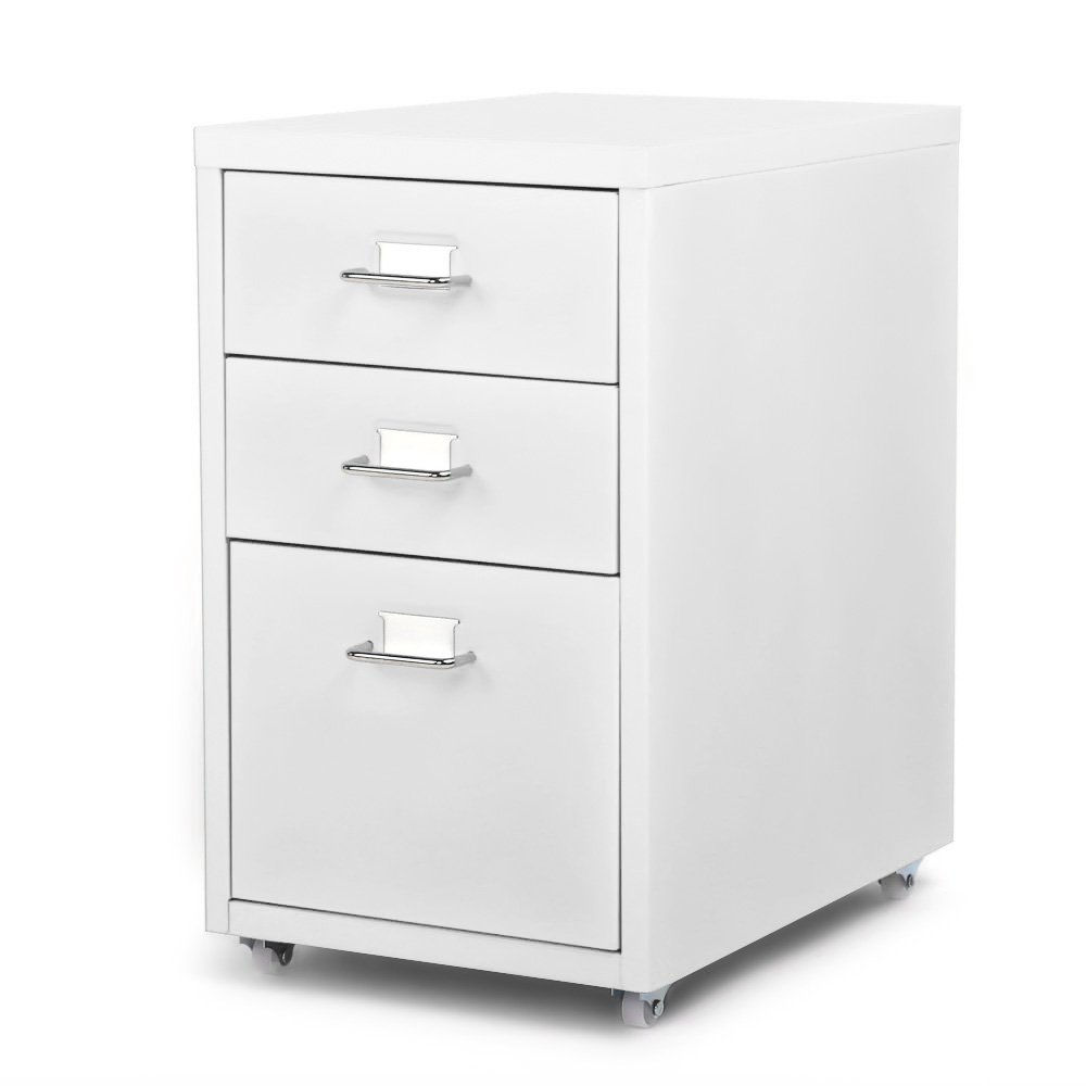IKAYAA Office Metal File Cabinet 3 Drawer Detachable Mobile Steel File Cabinets with 4 Casters Office, Bedroom, Living Room Furniture