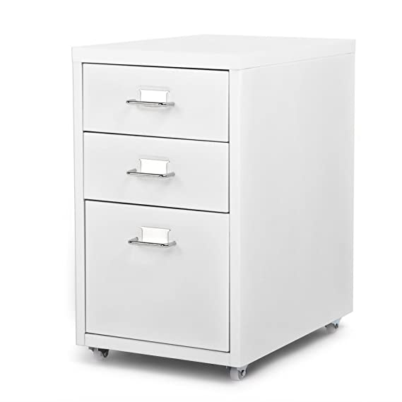 Amazon.com: IKAYAA Office Metal File Cabinet 3 Drawer Detachable Mobile Steel File Cabinets with 4 Casters Office, Bedroom, Living Room Furniture: Home & ...