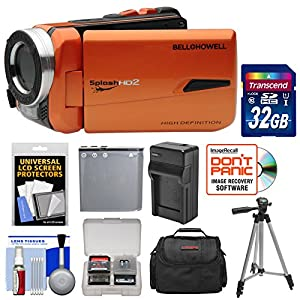 Bell & Howell Splash HD WV50 Waterproof Digital Video Camera Camcorder (Orange) with 32GB Card + Battery + Charger + Case + Tripod + Kit