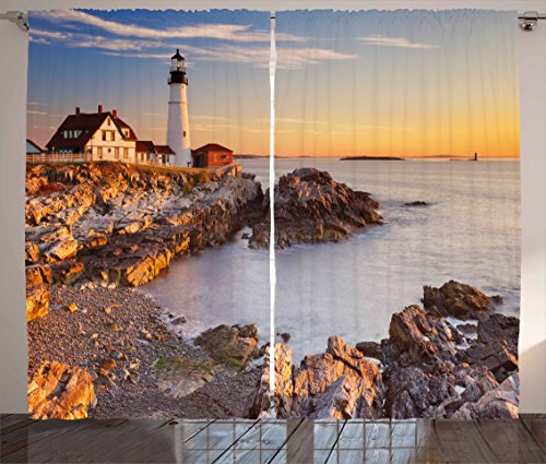 Elizabeth Lighthouse Cape (Ambesonne United States Curtains, Cape Elizabeth Maine River Portland Lighthouse Sunrise USA Coast Scenery, Living Room Bedroom Window Drapes 2 Panel Set, 108 W X 84 L Inches, Light Blue Tan)