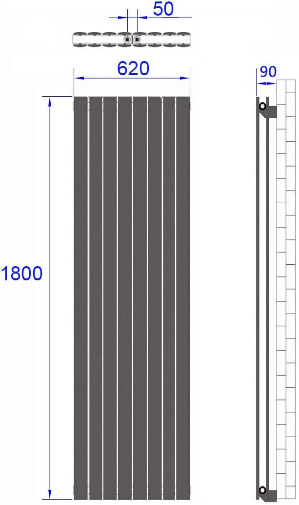Wei/ß Vertikal Heizk/örper Design Paneelheizk/örper 1800x540mm Flach Einreihig Mittelanschluss Heizung
