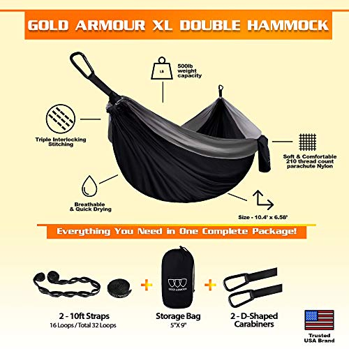 Gold Armour XL Double Parachute Camping Hammock – Tree Portable with Max 1000 lbs Breaking Capacity – Free 16 Loops Tree Strap & Carabiners for Backpacking, Camping, Hiking, Travel, Yard (Black/Gray)