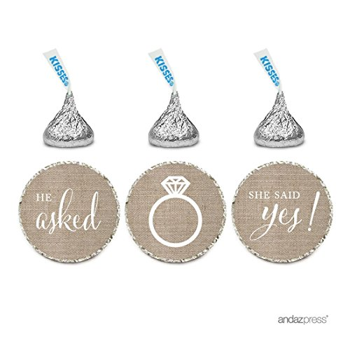 Andaz Press Chocolate Drop Labels Stickers, Wedding He Asked She Said Yes!, Burlap Print, 216-Pack, For Bridal Shower Engagement Hershey's Kisses Party Favors Decor