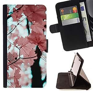 /Skull Market/ - LEAVES MAPLE TREE AUTUMN PINK BRANCH For Samsung Galaxy Core Prime - Caja de la carpeta del tir???¡¯???€????€???????&