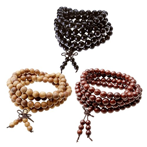 - Jovivi 3-5pc Natural Wood 108 Beads Tibetan Prayer Mala Meditation Wrap Bracelet Necklace