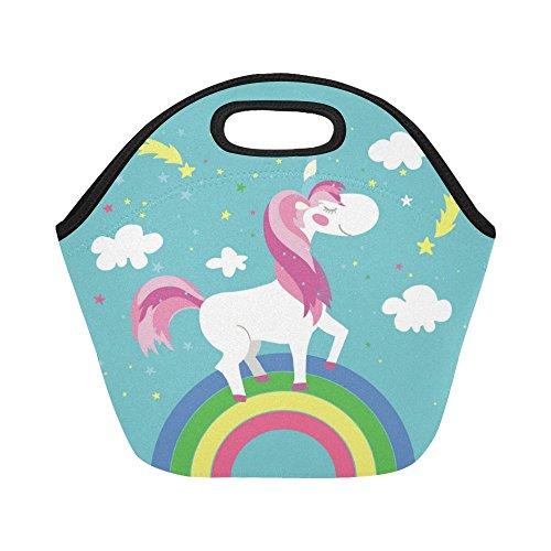 InterestPrint Insulated Lunch Tote Bag Fairy Cartoon Unicorn Rainbow Reusable Neoprene Cooler, Magical Animals Portable Lunchbox Handbag for Men Women Adult Kids Boys Girls