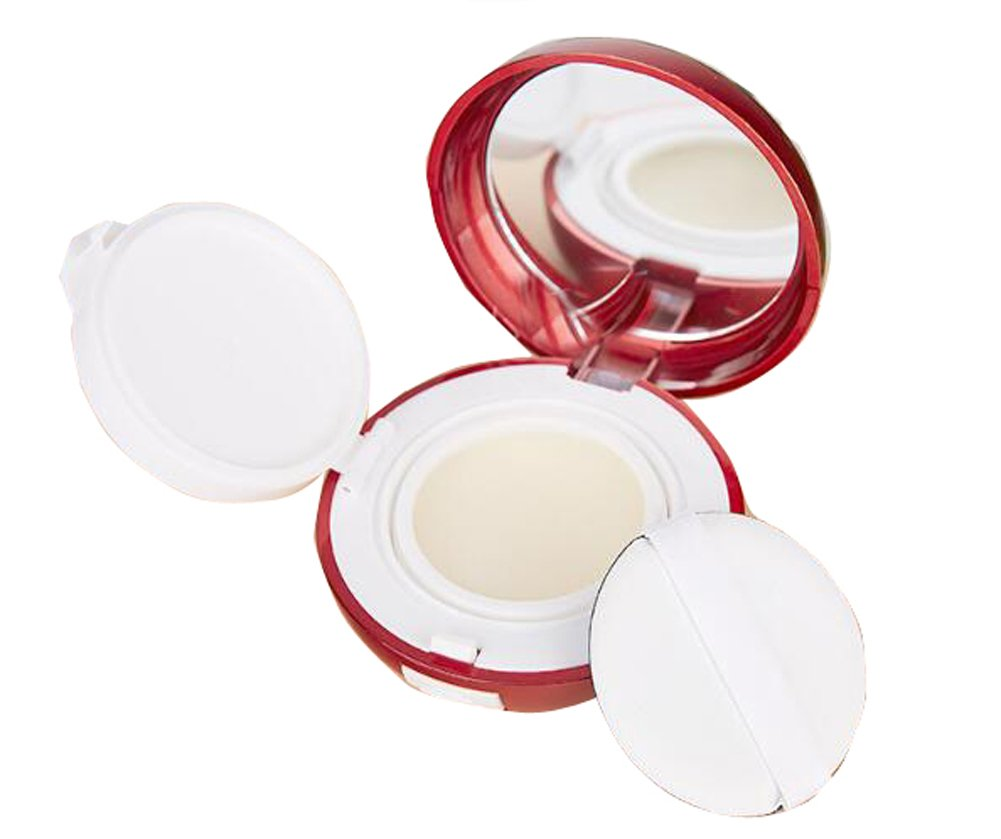 15ml 0.5oz Empty luxury Reusable Red Cosmetic Powder Container Air Cushion Powder Puff Case Holder with Powder Puff Sponge and Mirror Portable Makeup BB CC Cream Foundation Box erioctry