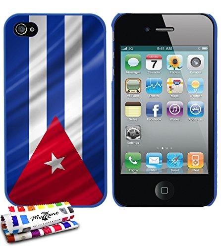 Ultraflache weiche Schutzhülle APPLE IPHONE 4S [Kuba Flagge] [Blau] von MUZZANO + STIFT und MICROFASERTUCH MUZZANO® GRATIS - Das ULTIMATIVE, ELEGANTE UND LANGLEBIGE Schutz-Case für Ihr APPLE IPHONE 4S
