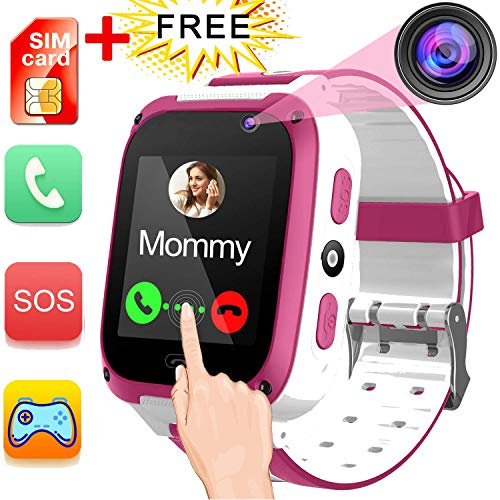 iGeeKid Kids Phone Smart Watch for 3-14 Years Girls Boys Toddler 2 Way Call SOS HD Touch Screen Camera Math Game Flashlight Cellphone Wristwatch Electronic Learning Toys Shcool Supplies for Classroom