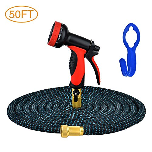 GYMAN Garden Hose 50 Feet Expanding Water Hose with 10 Patterns Sprayer Nozzle Solid Brass for Car Washing, Plants Watering and Pets Showering