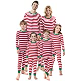 shelry Matching Family Christmas Boys Girls Pajamas Striped Kids Sleepwear Children Clothes Women L