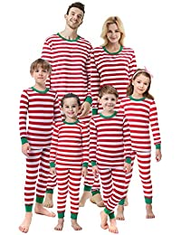 Matching Family Christmas Boys Girls Pajamas Striped Kids Sleepwear Children Clothes