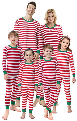 Matching Family Christmas Boys Girls Pajamas Striped Kids Sleepwear Children Clothes Men XL (Outfits Christmas Photos Family)