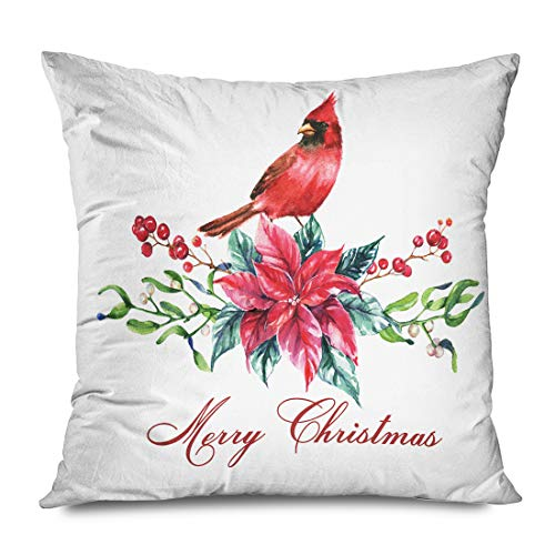 Ahawoso Throw Pillow Cover Square 20x20 Inch Merry Christmas Watercolor Poinsettia Flowers Hand Red Isolated Miscellaneous Holidays Drawing New Decorative Zippered Pillowcase Home Decor Cushion Case
