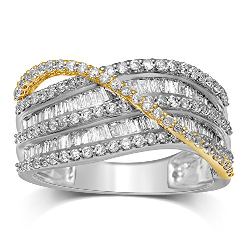Diamond Jewel 14k White & Yellow Gold 1cttw Diamond (H-I Color , I1-I2 Clarity) Round and Baguette Flyover Fashion Band