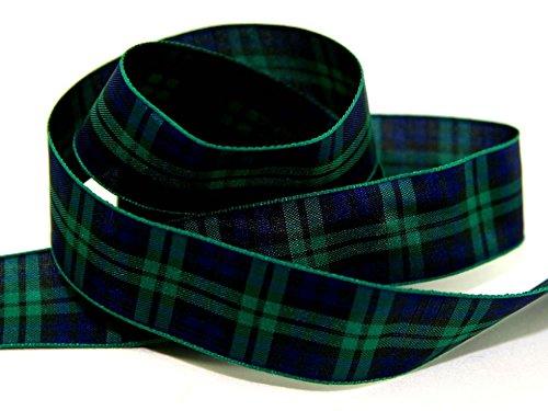 7mm Berisford Woven Tartan Ribbon 9 Black Watch - per ()