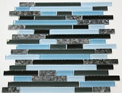 Laguna Blue Random Pattern Glass Tile & Granite Tile; Color: Black & Blue Glass with Blue Pearl Granite by Mc Glass