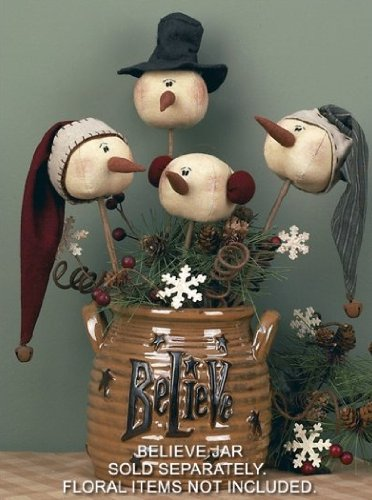 Honey In Me Christmas Primitive Country Whimsy Rolly Polly Snowman Wand (Primitive Christmas)
