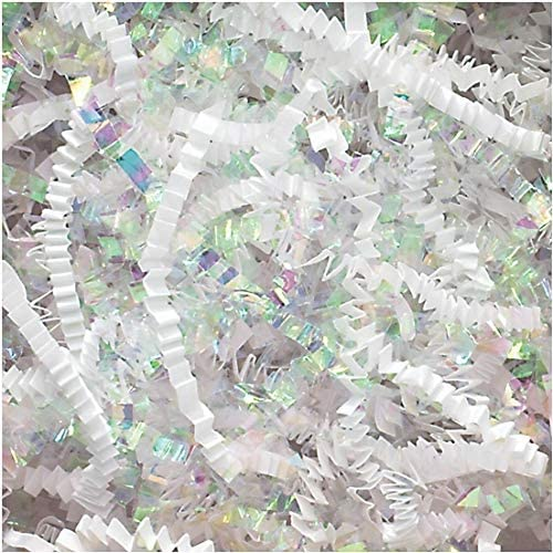 Crinkle Cut Paper Shred Filler (1 LB) for Gift Wrapping & Basket Filling - Diamond White   MagicWater Supply