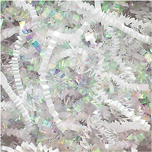 Crinkle Cut Paper Shred Filler (1/2 LB) for Gift Wrapping & Basket Filling – Diamond White | MagicWater Supply