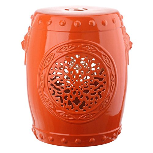 Safavieh Castle Garden's Collection Glazed Ceramic Flower Drum Garden Stool, Orange (Drum Garden)