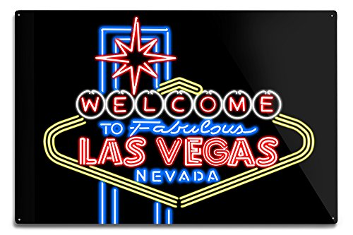 Las Vegas, Nevada - Neon Lights Welcome Sign (12x18 Aluminum Wall Sign, Wall Decor Ready to -