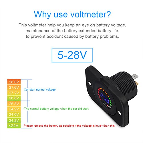 12V LED Display Voltmeter Universila Digital Volt Meter Gauge Waterproof Round Panel for Boat Marine Vehicle Motorcycle Truck Atv Utv Car Camper Caravan