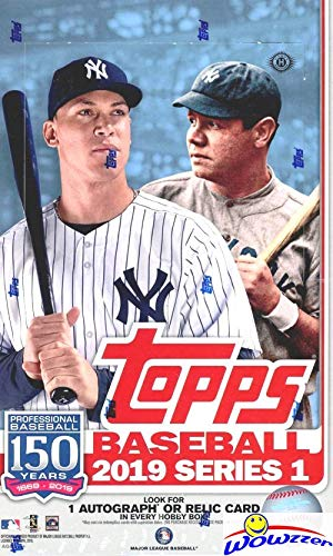 2019 Topps Series 1 MLB Baseball MASSIVE 24 Pack Factory Sealed HOBBY Box with 384 Cards & AUTOGRAPH or RELIC Card! Loaded with Rookies, Inserts & Parallel Cards! Always a Home Run! Brand New! WOWZZER -