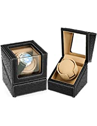 Automatic Single Watch Winder for Rolex with Quiet Motor,Premium Ostrich Leather Exterior and Soft Flexible Watch Pillows( Black+Camel Velvet)