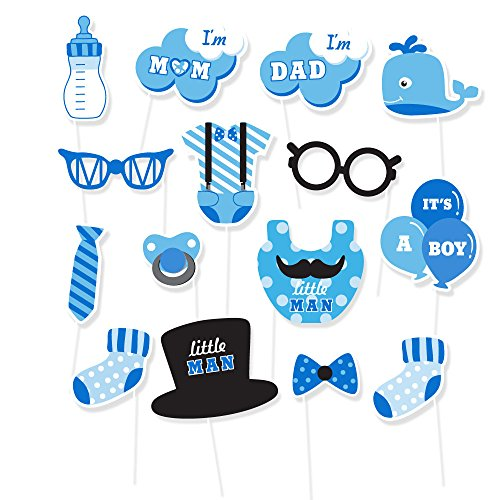 IT'S A BOY Baby shower Photo Booth Props Blue Theme Baby Shower Prefect for Lovely Baby , Baby shower Party Supplies Include 15Pcs by Lucky (Whale Baby Shower Theme)