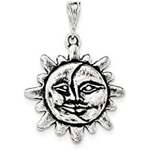 ICE CARATS 925 Sterling Silver Sun Half Moon Face Pendant Charm Necklace Outdoor Nature Fine Jewelry Ideal Gifts For Women Gift Set From Heart