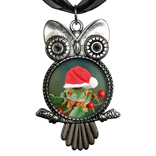 GiftJewelryShop Ancient Style Silver Plate Holly Hopping Santa Frog Owl Charm Pendant Necklace