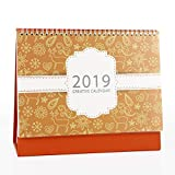 Whthteey Floral Style Calendar 2018-2019 Paper Desk Calendar with Stand for Office School Home (Yellow)
