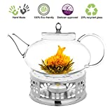 Teapot Set Flowering Tea Glass Teapot Gift Set Harmony 42 Oz / 1242 Ml with Stainless Steel Tea Warmer Alex Tea Maker for Loose Tea, Herbal, Oolong Tea Green Tea Black Tea Large Teapot set