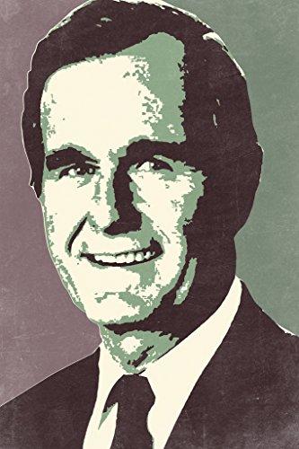 President George HW Bush 41 Pop Art Portrait Republican Politics Politician Tan Poster 12x18 inch