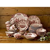Johnson Brothers 45-Piece Old Britain Castles Dinner Set, Pink