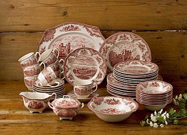 Christmas Tablescape Décor - Johnson Brothers Old Britain Castles pink/red 45-piece dinnerware serveware set - Service for 8
