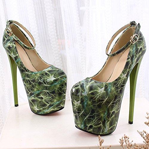 Fereshte Moda Mujer Plataforma Cerrada Súper Tacón Alto Zapatos De Boda N ° 1282 19cm-verde