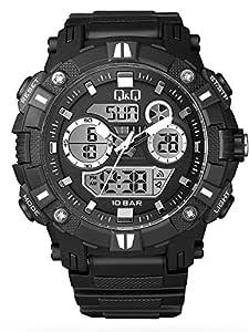 Q&Q Men's Black Dial Resin Band Watch - GW88J001Y - Black