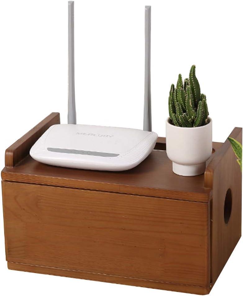 ケーブル管理ボックスオーガナイザー、ホーム木製ソケットケーブル収納装飾ボックス、多機能ポータブルデスクトップリモコン収納ボックス
