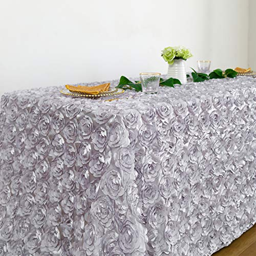 Fanqisi Silver Rosette Satin - Rectangular Tablecloth 90