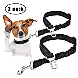 "Ownpets Pet Dog Seat Belt, 2 Packs Adjustable Durable Dog Car Safety Seat Belt Leash with Elastic Nylon Bungee Buffer, Vehicle Seat Belt Leash for Small, Medium, Large Dogs (20-30"")"