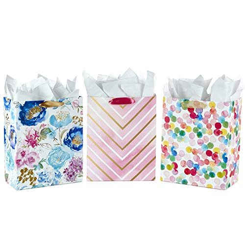 - Hallmark Large Gift Bags Assortment with Tissue Paper—Floral, Chevron, Dots (Pack of 3 Gift Bags for Birthdays, Baby Showers, Bridal Showers, Holidays)