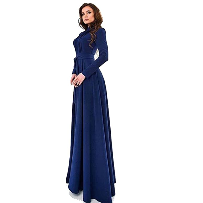 3b13f02b148 Gotd Women Solid Long Sleeves Slim Maxi Dress Cocktail Party Dresses ...